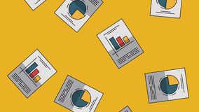 Data analysis statistics HD. Statistics reports falling over yellow background High definition animation colorful scenes vector illustration