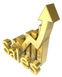 Statistics sales graphic in gold Stock Image
