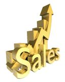 Statistics sales graphic in gold Royalty Free Stock Photography