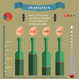 Statistics. Schedule of alcohol consumption per capita in the flat style Stock Photos