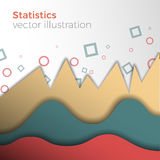 Statistics vector concept. Analytical or statistical background. Vector abstract illustration of paper-like graphs. Stylish colors and mild shadows. Business Royalty Free Stock Photo