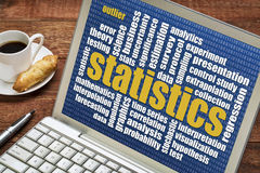 Statistics word cloud on laptop Royalty Free Stock Photo