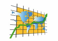 Statistics - worldmap. Statistics/worldmap - 3d isolated on white background (with vector EPS format Stock Photo