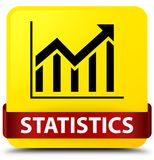 Statistics yellow square button red ribbon in middle Stock Photos