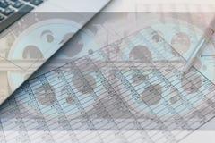 Statistieken en boekhouding - de locomotief van de economie stock foto