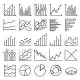 Statistiekenpictogrammen Een reeks lineaire Webelementen stock afbeeldingen