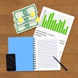 Statistik av timpenningar och den årliga hushållbudgeten Arkivfoto