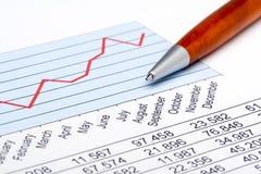 statistik för 3 finans Arkivfoto