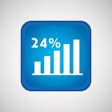 statistik i fyrkantig knapp isolerad symbolsdesign Arkivbild