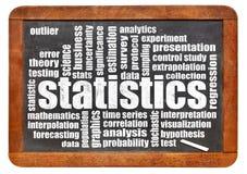 Statistik- och dataordmoln royaltyfri foto
