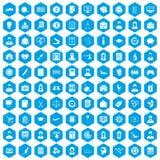 100 Statistikdatenikonen blau eingestellt Lizenzfreie Stockfotos
