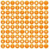 100 Statistikdatenikonen orange eingestellt Lizenzfreies Stockbild