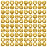 100 Statistikdatenikonen stellten Gold ein Stockfoto