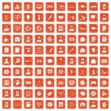 100 Statistikdatenikonen stellten Schmutz orange ein Lizenzfreie Stockfotos