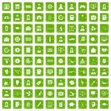 100 Statistikdatenikonen stellten Schmutzgrün ein Lizenzfreie Stockfotografie