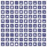 100 Statistikdatenikonen stellten Schmutzsaphir ein Lizenzfreies Stockfoto