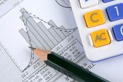 Statistikdiagramm, -bleistift und -rechner Stockfoto