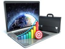 Statistiken 3d über Laptop Lizenzfreie Stockfotografie