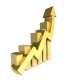 Statistiken grafisch im Gold Stockfotos