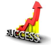 Statistiken grafisch mit Erfolgswort Stockfotografie