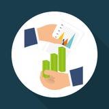 Statistiken an Hand, Vektordesign Lizenzfreie Stockfotografie