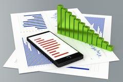Statistiken und Smartphone Stockfoto