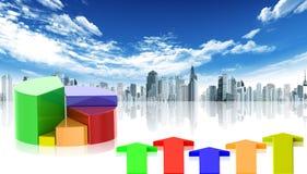 Statistiken und Stadt lizenzfreie abbildung