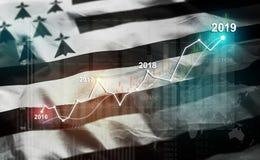 Statistique croissante 2019 financier contre Brittany Flag illustration de vecteur