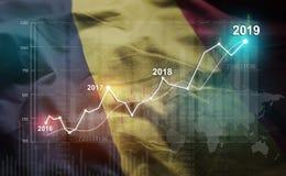 Statistique croissante 2019 financier contre Chad Flag illustration de vecteur