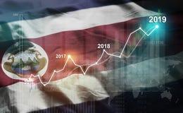 Statistique croissante 2019 financier contre Costa Rica Flag illustration de vecteur