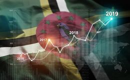 Statistique croissante 2019 financier contre Dominica Flag illustration libre de droits