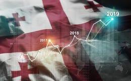 Statistique croissante 2019 financier contre Georgia Flag illustration de vecteur