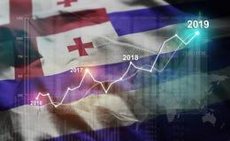 Statistique croissante 2019 financier contre le drapeau d'Adjara illustration stock