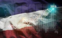 Statistique croissante 2019 financier contre le drapeau d'altos de visibilité directe illustration stock