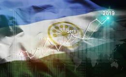 Statistique croissante 2019 financier contre le drapeau de Bashkortostan illustration de vecteur
