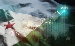 Statistique croissante 2019 financier contre le drapeau de Djibouti illustration stock