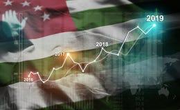 Statistique croissante 2019 financier contre le drapeau de l'Abkhazie illustration de vecteur