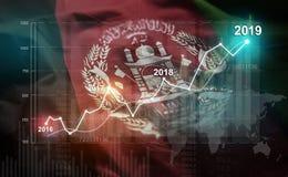 Statistique croissante 2019 financier contre le drapeau de l'Afghanistan illustration stock