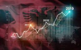 Statistique croissante 2019 financier contre le drapeau de l'Albanie illustration de vecteur