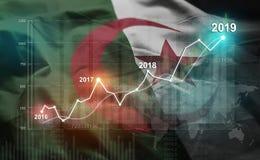 Statistique croissante 2019 financier contre le drapeau de l'Algérie illustration de vecteur
