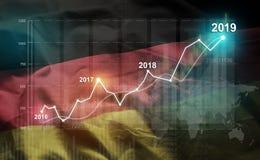 Statistique croissante 2019 financier contre le drapeau de l'Allemagne illustration libre de droits