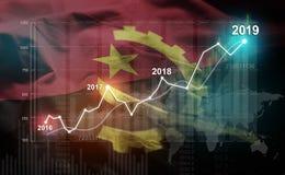 Statistique croissante 2019 financier contre le drapeau de l'Angola illustration stock