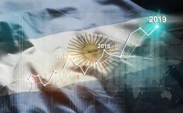 Statistique croissante 2019 financier contre le drapeau de l'Argentine illustration stock