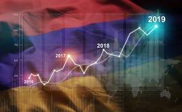 Statistique croissante 2019 financier contre le drapeau de l'Arménie illustration stock