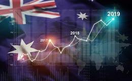 Statistique croissante 2019 financier contre le drapeau de l'Australie illustration de vecteur