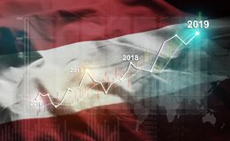 Statistique croissante 2019 financier contre le drapeau de l'Autriche illustration de vecteur