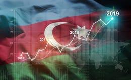 Statistique croissante 2019 financier contre le drapeau de l'Azerbaïdjan illustration libre de droits