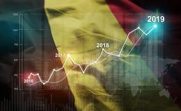 Statistique croissante 2019 financier contre le drapeau de la Belgique illustration stock