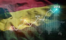 Statistique croissante 2019 financier contre le drapeau de la Bolivie illustration de vecteur