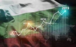 Statistique croissante 2019 financier contre le drapeau de la Bulgarie illustration stock